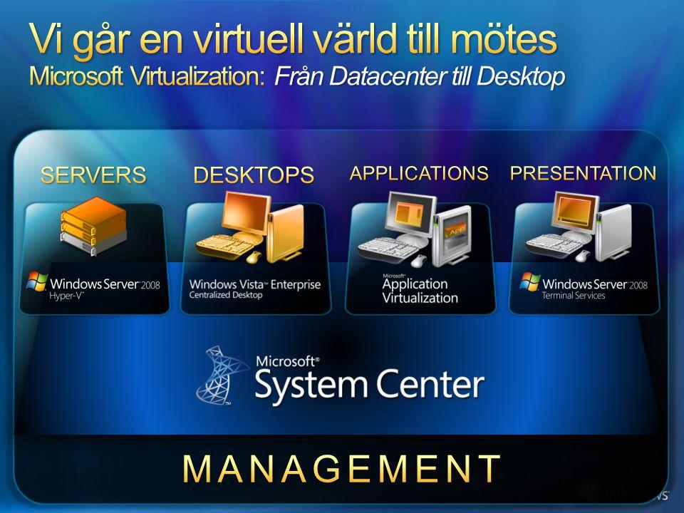 Vi går en virtuell värld till mötes Microsoft Virtualization: Från Datacenter till Desktop