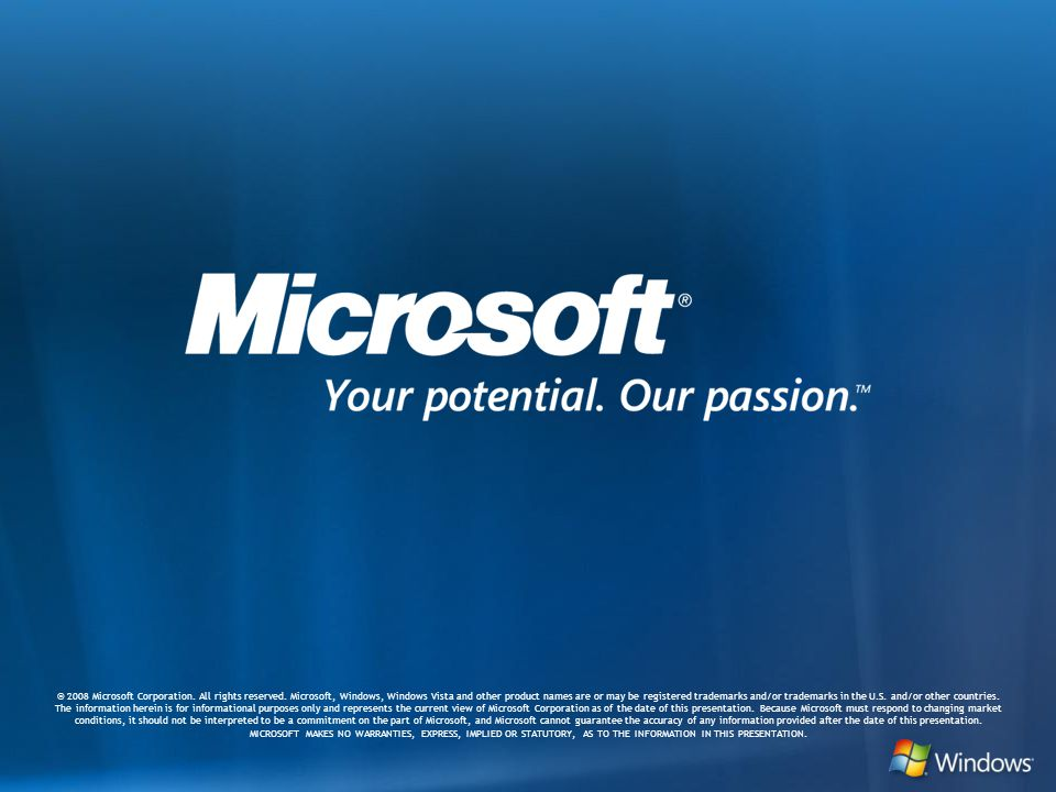 Microsoft Confiential: Preliminary Information: NDA Only