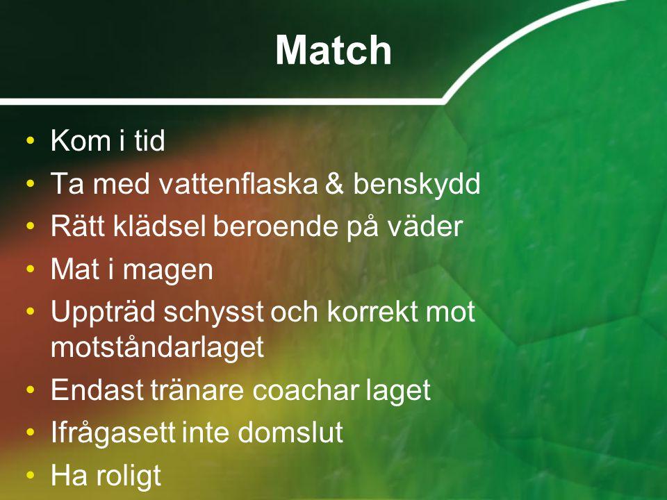 Match Kom i tid Ta med vattenflaska & benskydd