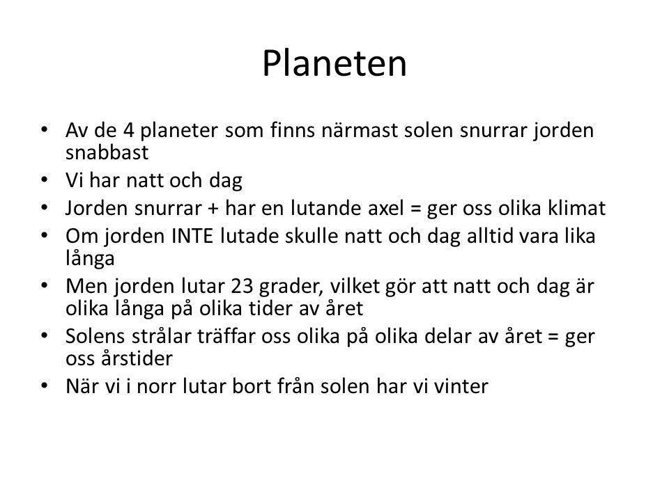 Planeten Av de 4 planeter som finns närmast solen snurrar jorden snabbast. Vi har natt och dag.
