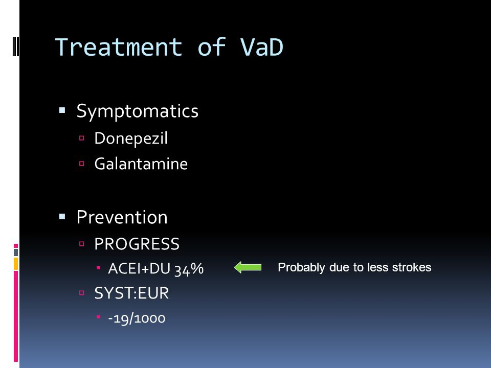 Treatment of VaD Symptomatics Prevention Donepezil Galantamine