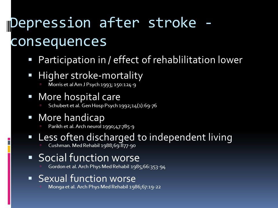 Depression after stroke - consequences