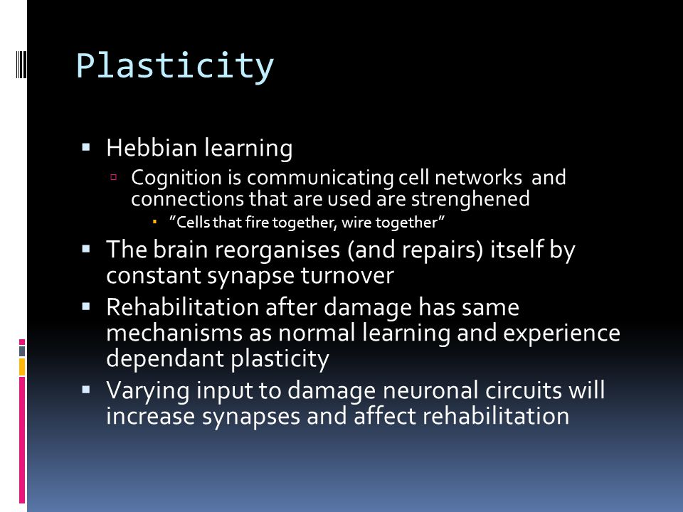 Plasticity Hebbian learning