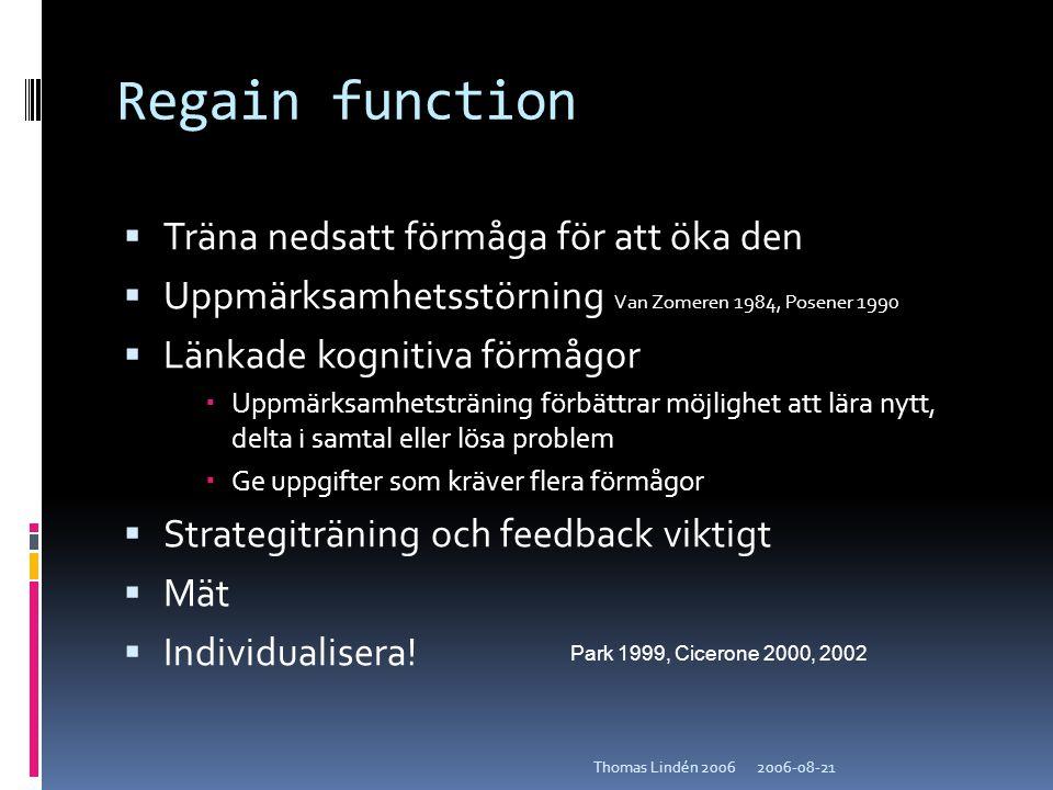 Regain function Träna nedsatt förmåga för att öka den