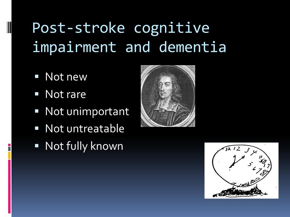 Post-stroke cognitive impairment and dementia
