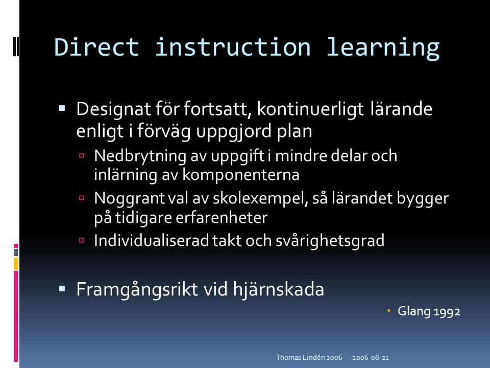Direct instruction learning