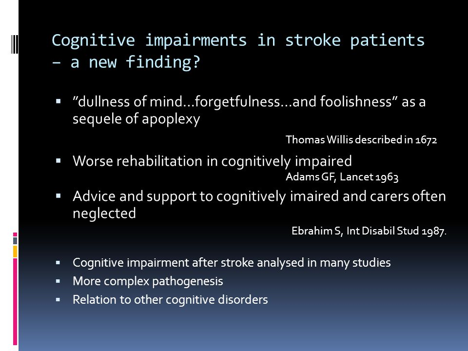 Cognitive impairments in stroke patients – a new finding