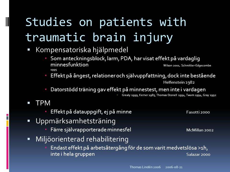 Studies on patients with traumatic brain injury