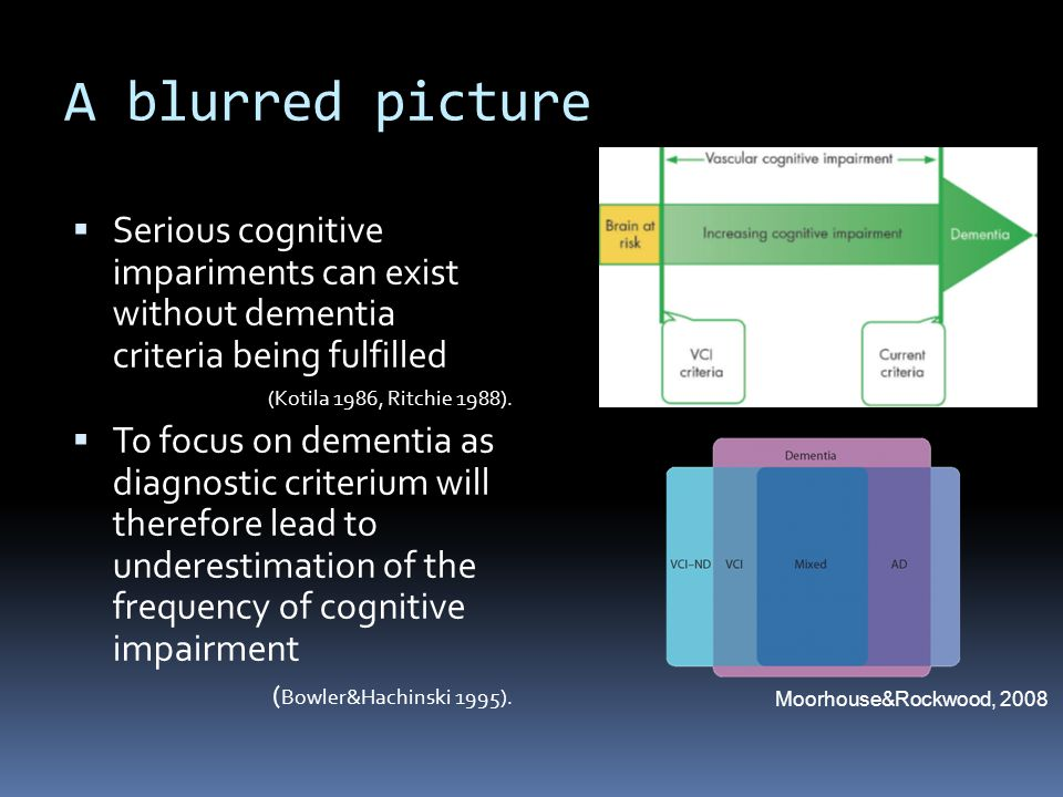 A blurred picture Serious cognitive impariments can exist without dementia criteria being fulfilled.