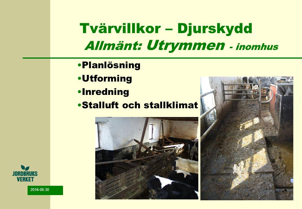 Tvärvillkor – Djurskydd Allmänt: Utrymmen - inomhus