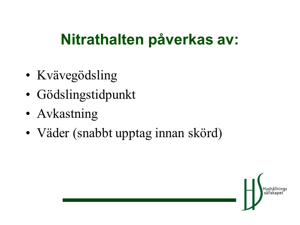 Nitrathalten påverkas av: