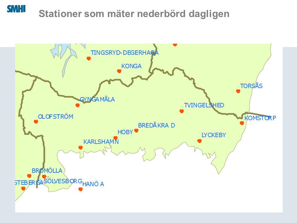 Stationer som mäter nederbörd dagligen