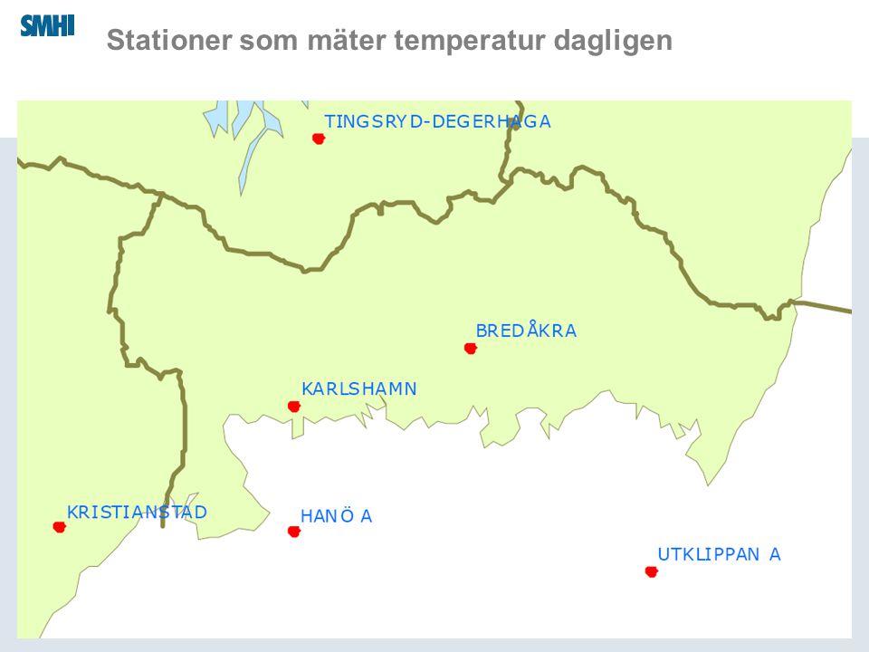 Stationer som mäter temperatur dagligen