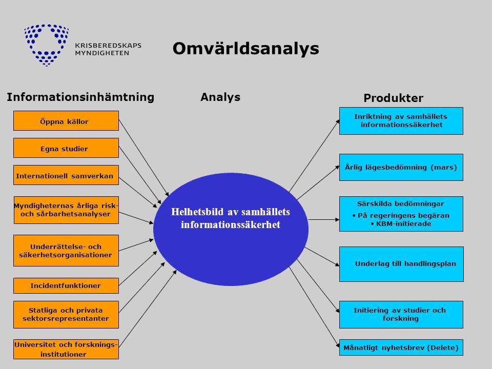 Omvärldsanalys Informationsinhämtning Analys Produkter
