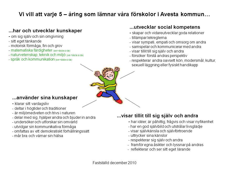 Vi vill att varje 5 – åring som lämnar våra förskolor i Avesta kommun…