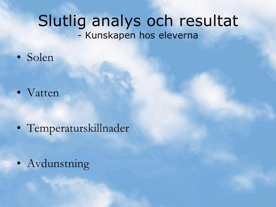 Slutlig analys och resultat - Kunskapen hos eleverna