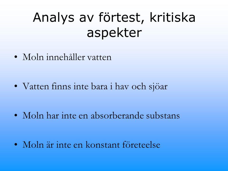 Analys av förtest, kritiska aspekter