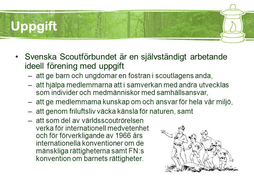 Uppgift Svenska Scoutförbundet är en självständigt arbetande ideell förening med uppgift. att ge barn och ungdomar en fostran i scoutlagens anda,