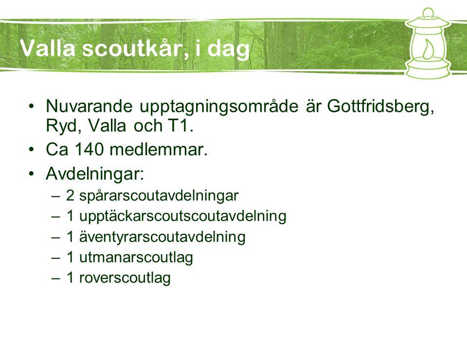 Valla scoutkår, i dag Nuvarande upptagningsområde är Gottfridsberg, Ryd, Valla och T1. Ca 140 medlemmar.