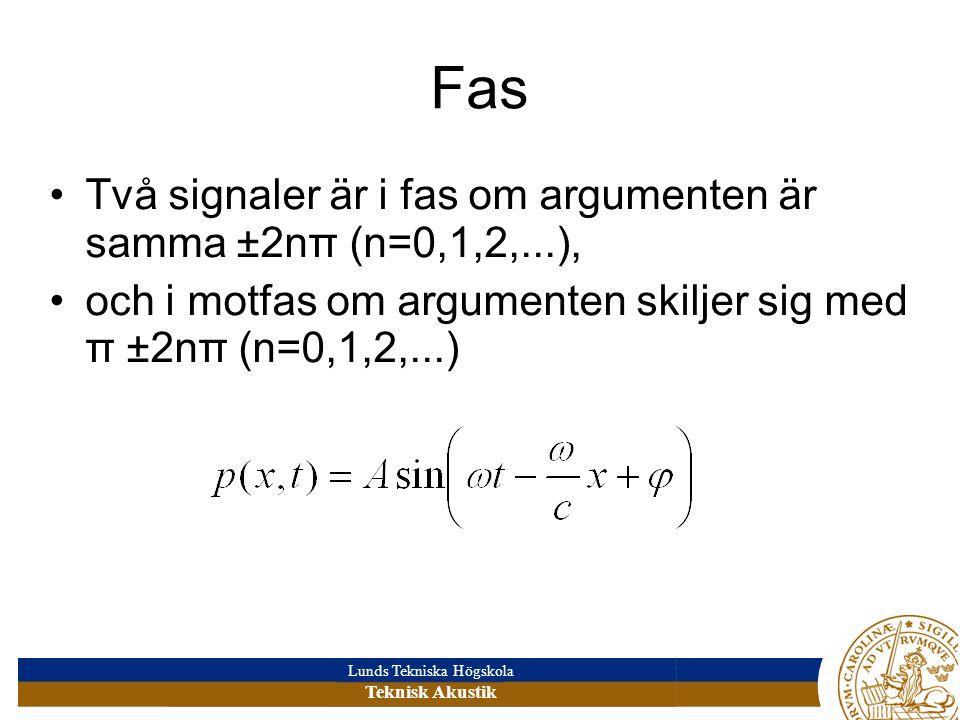 Fas Två signaler är i fas om argumenten är samma ±2nπ (n=0,1,2,...),