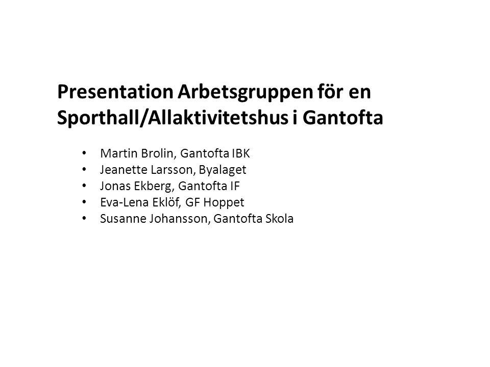 Presentation Arbetsgruppen för en Sporthall/Allaktivitetshus i Gantofta
