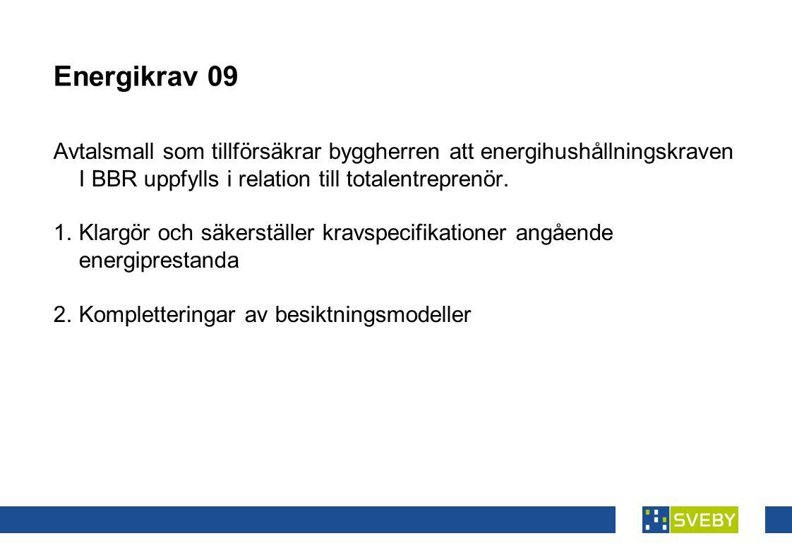 Energikrav 09 Avtalsmall som tillförsäkrar byggherren att energihushållningskraven I BBR uppfylls i relation till totalentreprenör.