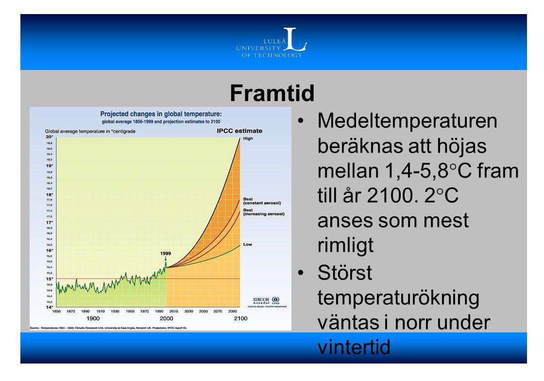 Framtid Medeltemperaturen beräknas att höjas mellan 1,4-5,8°C fram till år 2100. 2°C anses som mest rimligt.