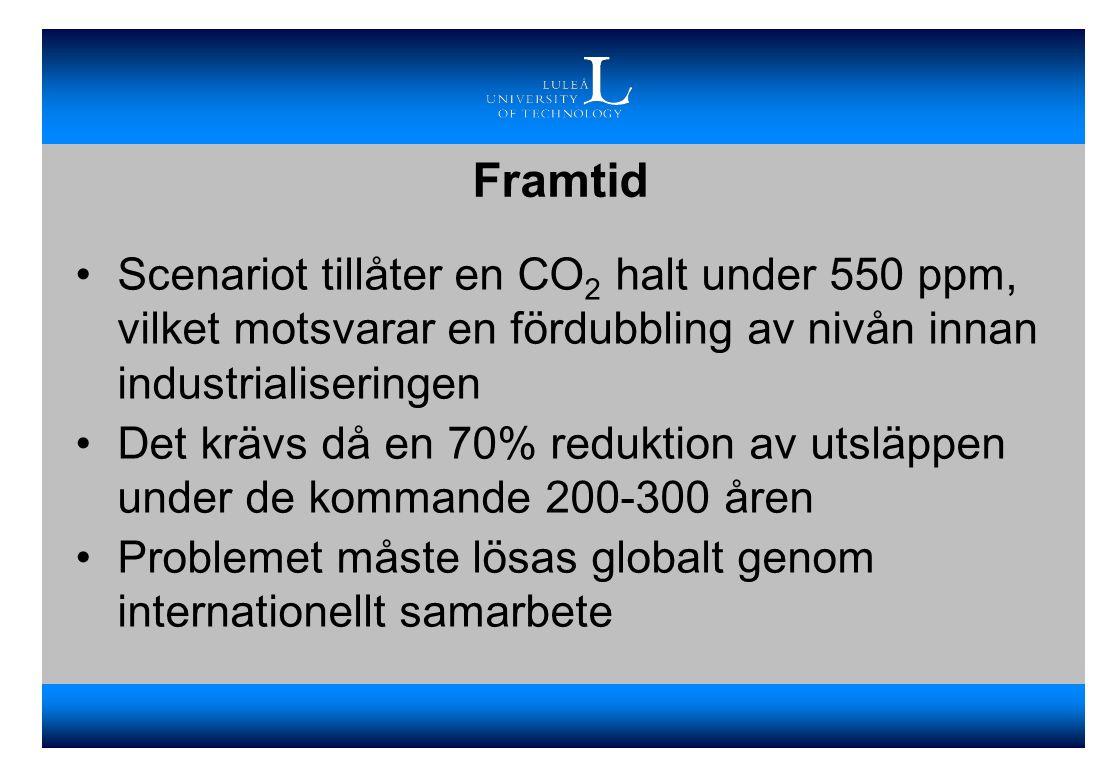 Framtid Scenariot tillåter en CO2 halt under 550 ppm, vilket motsvarar en fördubbling av nivån innan industrialiseringen.