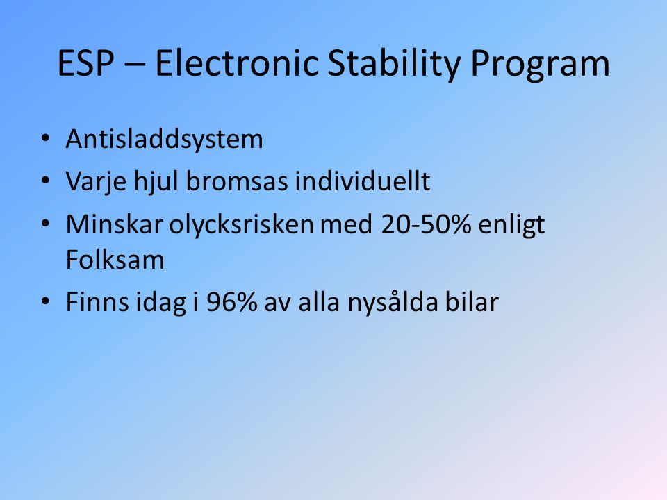 ESP – Electronic Stability Program