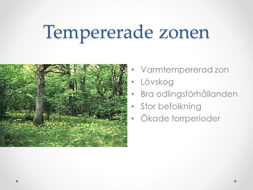 Tempererade zonen Varmtempererad zon Lövskog Bra odlingsförhållanden