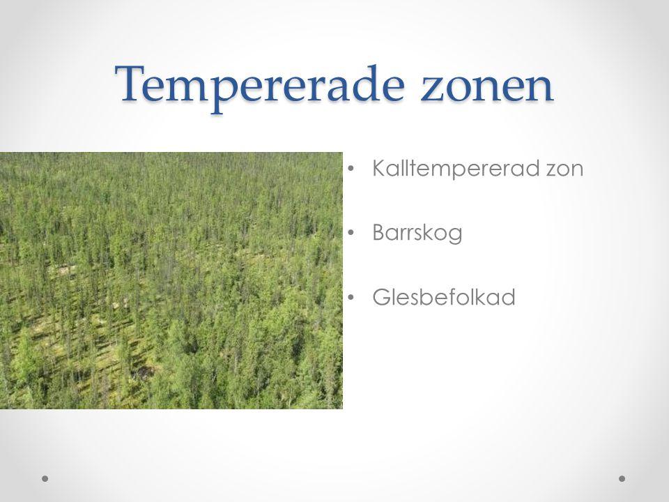 Tempererade zonen Kalltempererad zon Barrskog Glesbefolkad