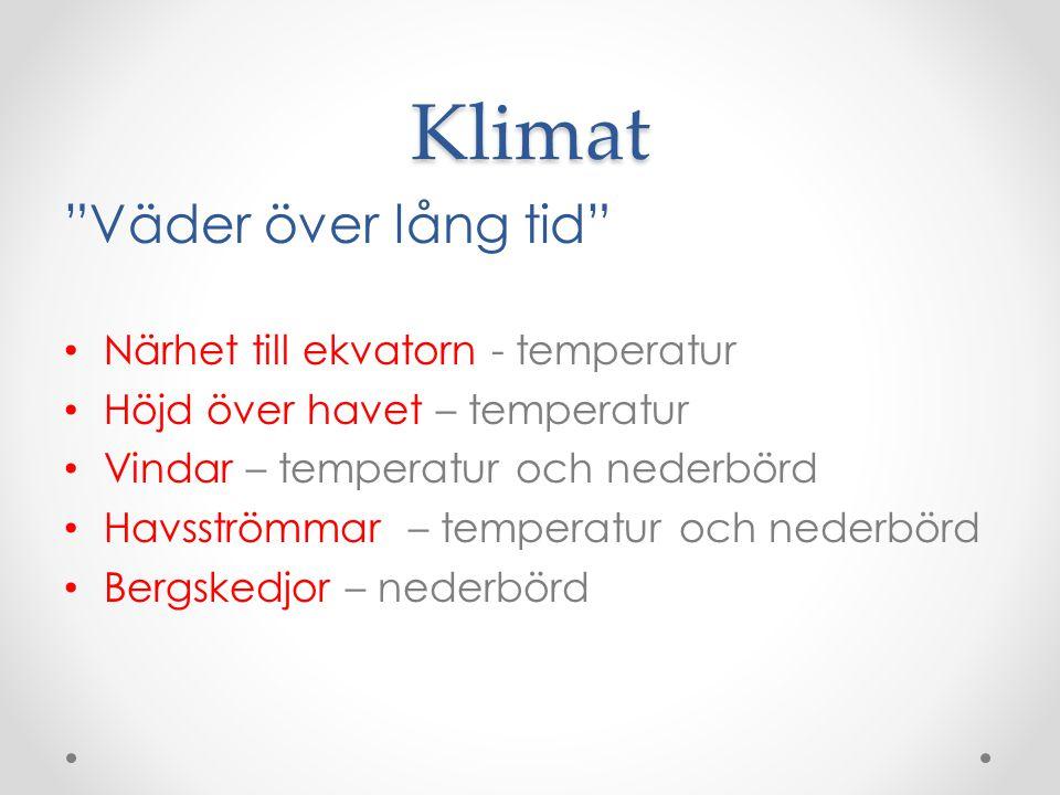 Klimat Väder över lång tid Närhet till ekvatorn - temperatur