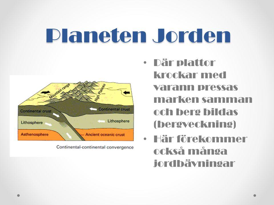 Planeten Jorden Där plattor krockar med varann pressas marken samman och berg bildas (bergveckning)