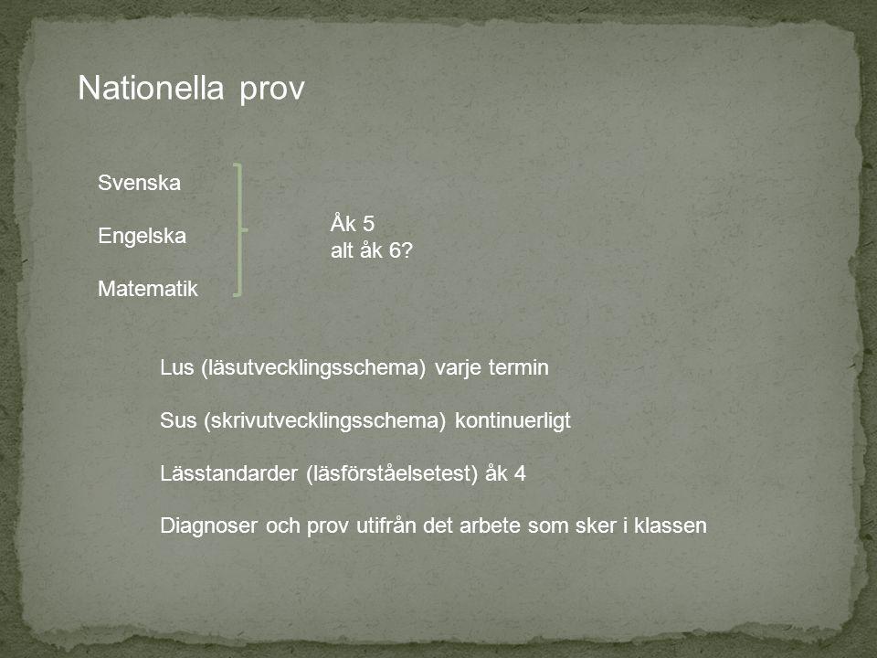Nationella prov Svenska Engelska Åk 5 Matematik alt åk 6