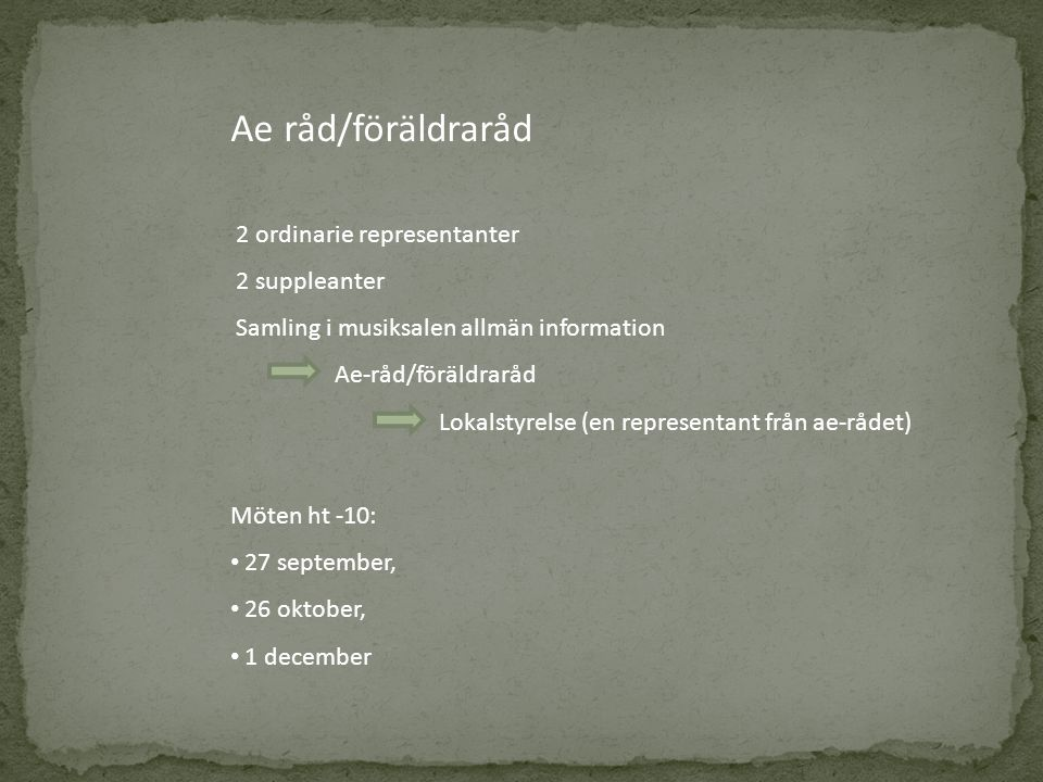 Ae råd/föräldraråd 2 ordinarie representanter 2 suppleanter