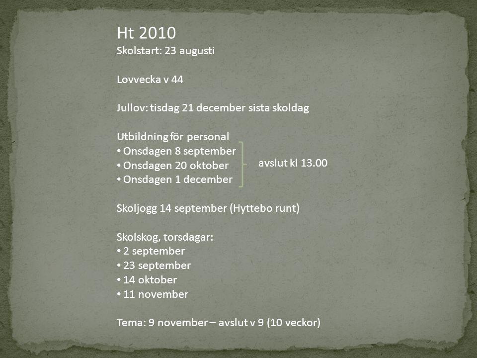 Ht 2010 Skolstart: 23 augusti Lovvecka v 44