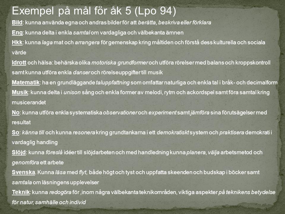 Exempel på mål för åk 5 (Lpo 94)