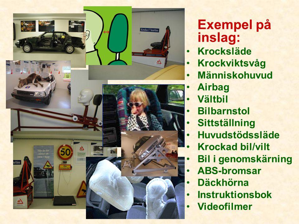 Exempel på inslag: Krocksläde Krockviktsvåg Människohuvud Airbag