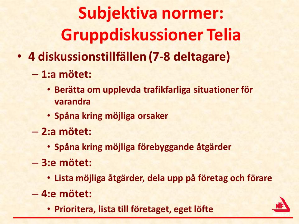 Subjektiva normer: Gruppdiskussioner Telia