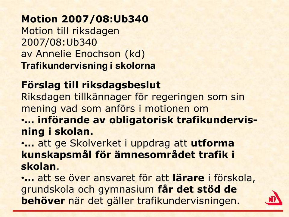 Motion 2007/08:Ub340 Motion till riksdagen. 2007/08:Ub340. av Annelie Enochson (kd) Trafikundervisning i skolorna.