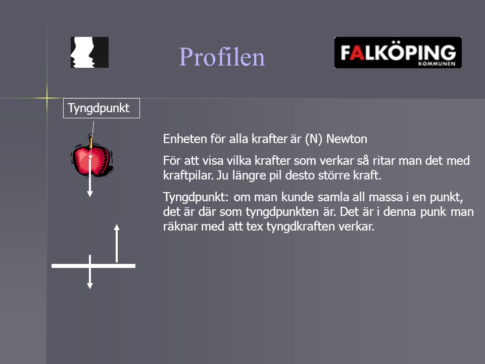 Profilen Tyngdpunkt Enheten för alla krafter är (N) Newton