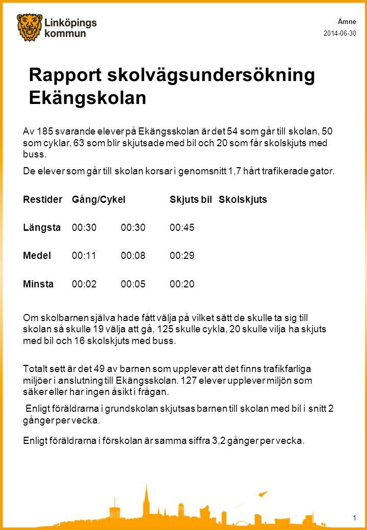 Rapport skolvägsundersökning Ekängskolan