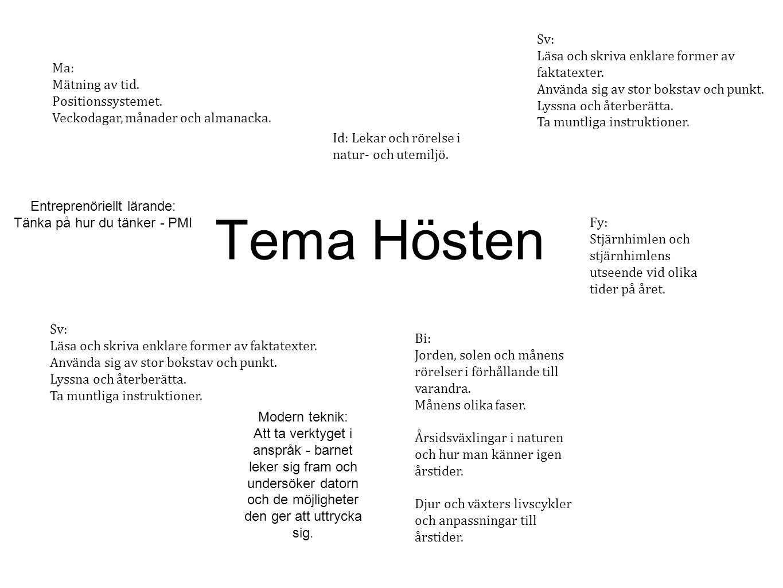 Tema Hösten Sv: Läsa och skriva enklare former av faktatexter.