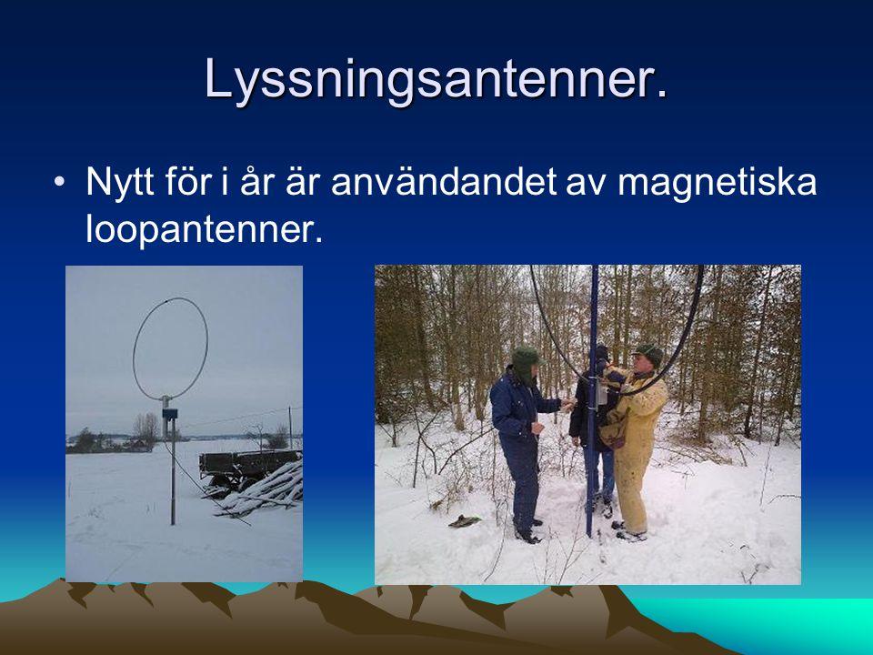 Lyssningsantenner. Nytt för i år är användandet av magnetiska loopantenner.