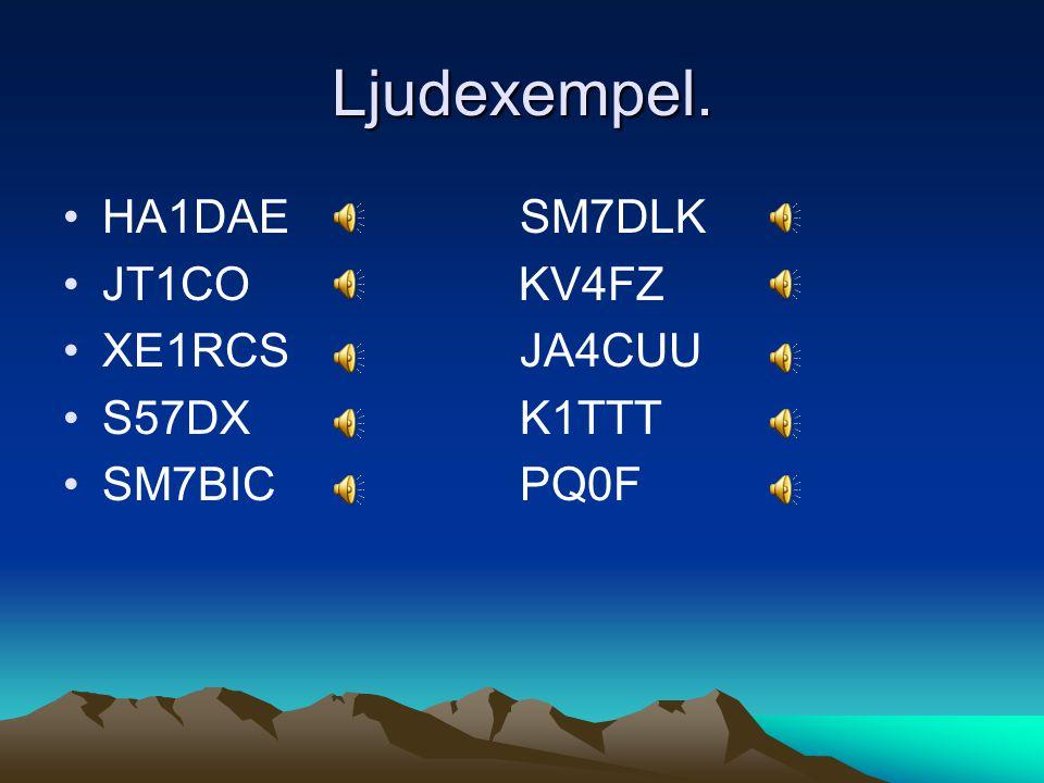 Ljudexempel. HA1DAE SM7DLK JT1CO KV4FZ XE1RCS JA4CUU S57DX K1TTT