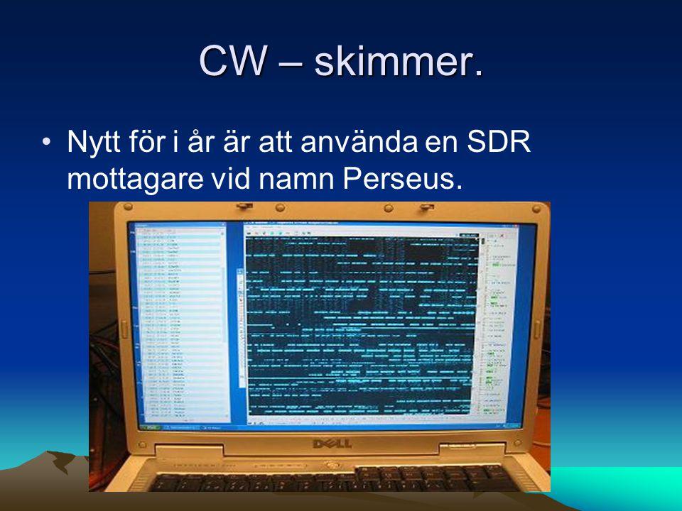 CW – skimmer. Nytt för i år är att använda en SDR mottagare vid namn Perseus.