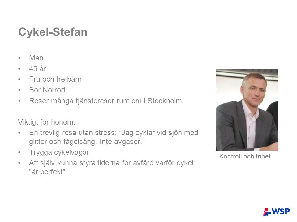 Cykel-Stefan Man 45 år Fru och tre barn Bor Norrort