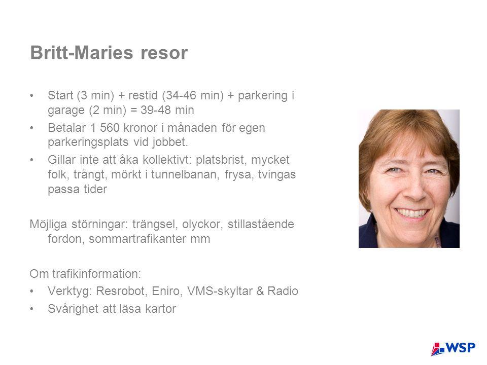 Britt-Maries resor Start (3 min) + restid (34-46 min) + parkering i garage (2 min) = 39-48 min.