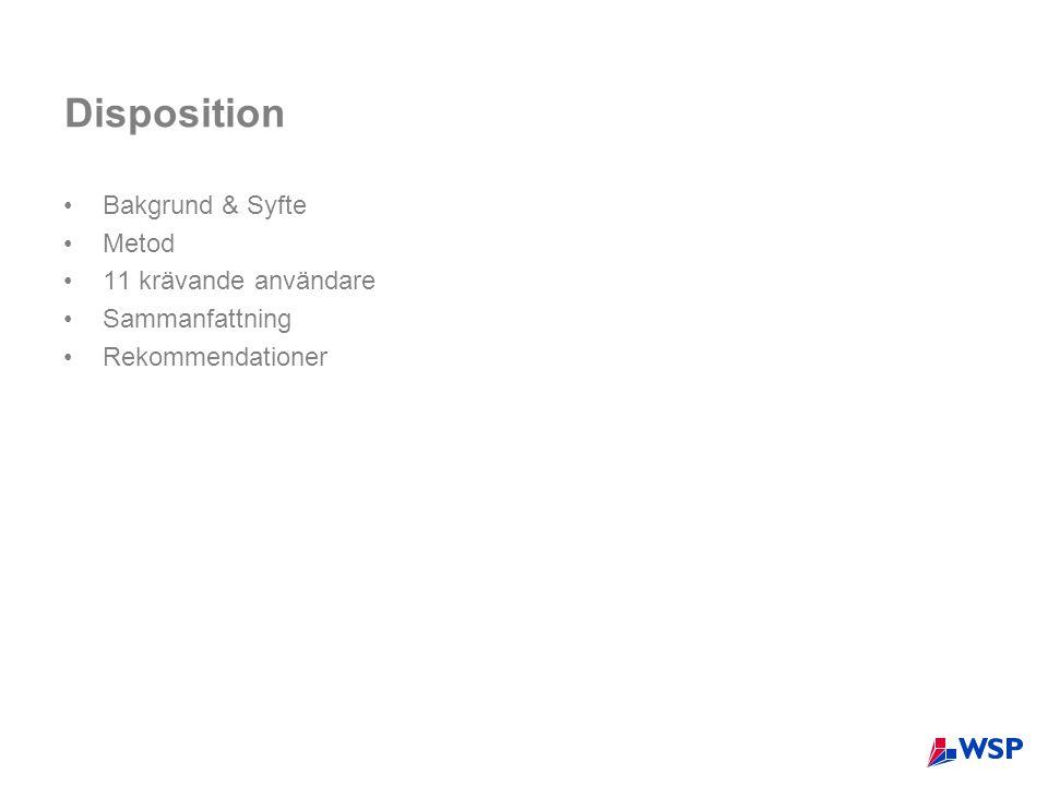 Disposition Bakgrund & Syfte Metod 11 krävande användare