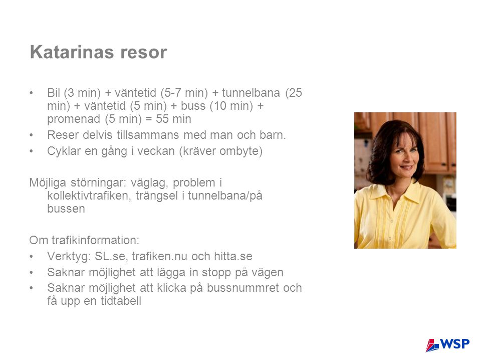 Katarinas resor Bil (3 min) + väntetid (5-7 min) + tunnelbana (25 min) + väntetid (5 min) + buss (10 min) + promenad (5 min) = 55 min.
